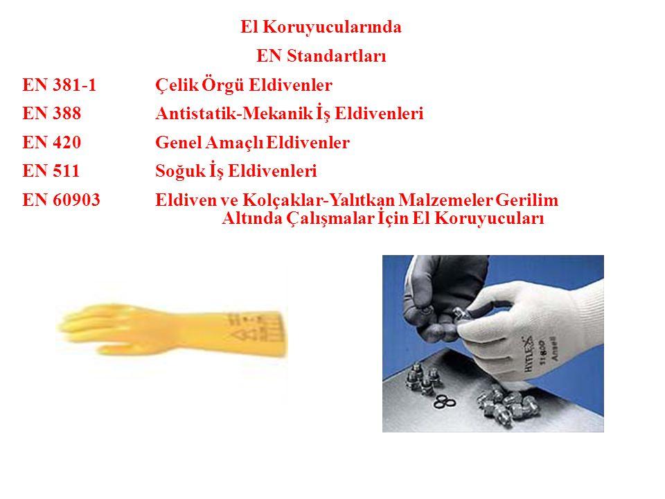 El Koruyucularında EN Standartları. EN 381-1 Çelik Örgü Eldivenler. EN 388 Antistatik-Mekanik İş Eldivenleri.