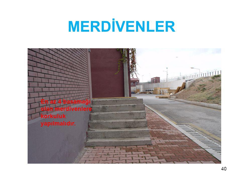 MERDİVENLER En az 4 basamağı olan merdivenlere korkuluk yapılmalıdır.