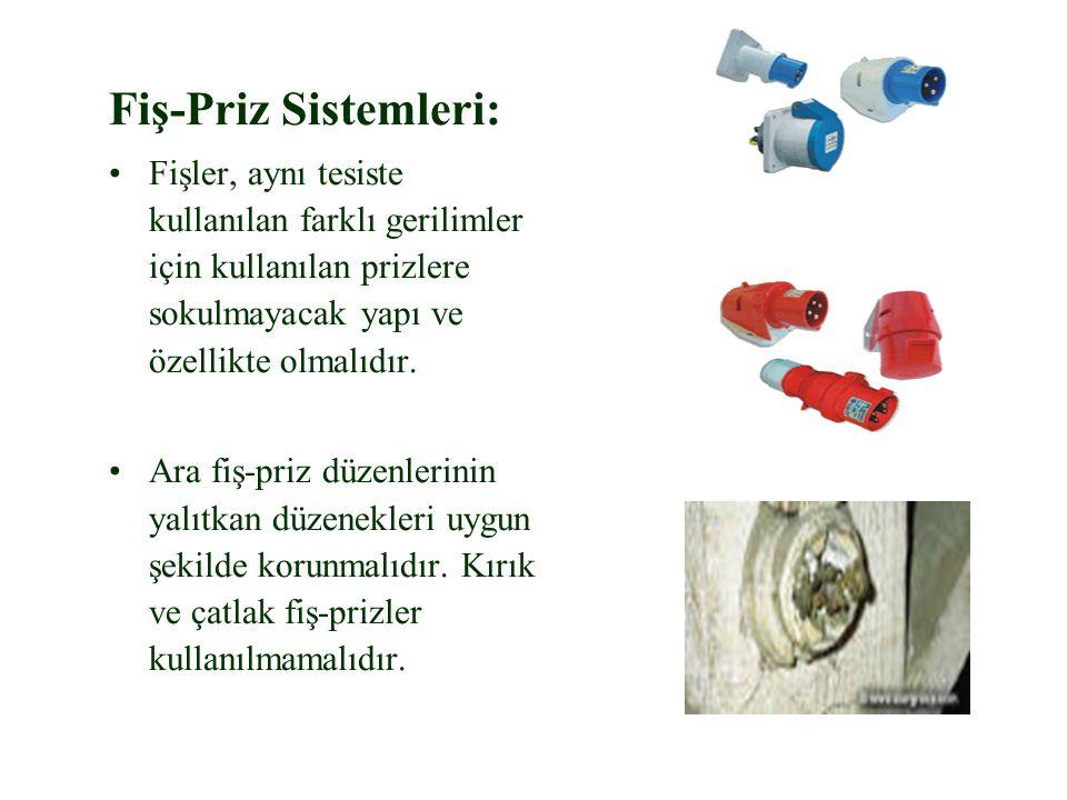 Fiş-Priz Sistemleri: Fişler, aynı tesiste kullanılan farklı gerilimler için kullanılan prizlere sokulmayacak yapı ve özellikte olmalıdır.