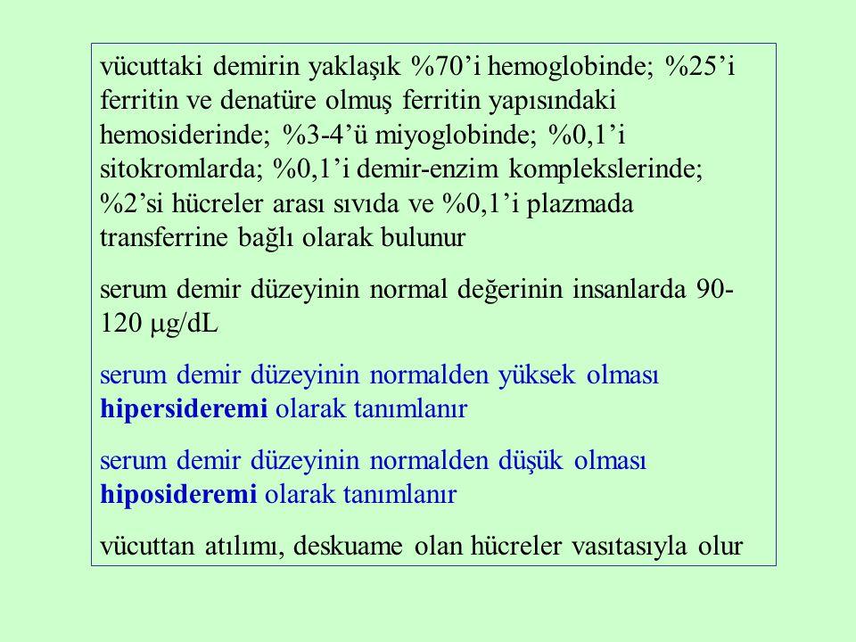vücuttaki demirin yaklaşık %70'i hemoglobinde; %25'i ferritin ve denatüre olmuş ferritin yapısındaki hemosiderinde; %3-4'ü miyoglobinde; %0,1'i sitokromlarda; %0,1'i demir-enzim komplekslerinde; %2'si hücreler arası sıvıda ve %0,1'i plazmada transferrine bağlı olarak bulunur