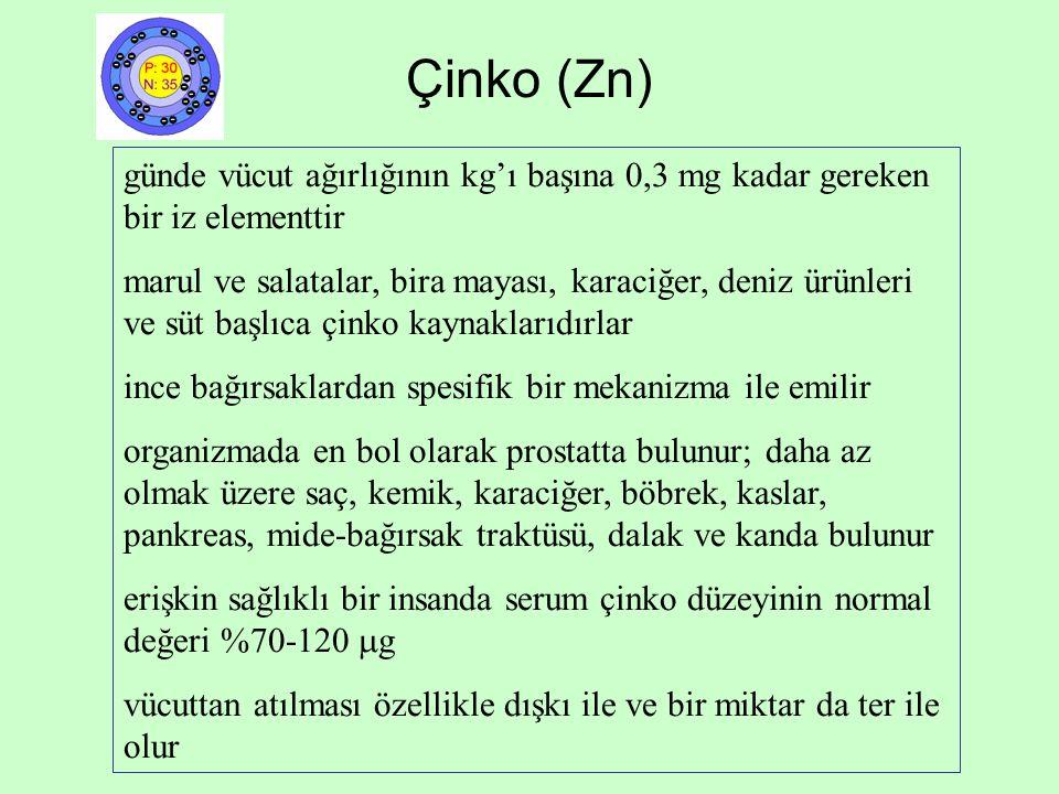 Çinko (Zn) günde vücut ağırlığının kg'ı başına 0,3 mg kadar gereken bir iz elementtir.