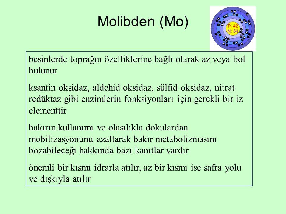 Molibden (Mo) besinlerde toprağın özelliklerine bağlı olarak az veya bol bulunur.