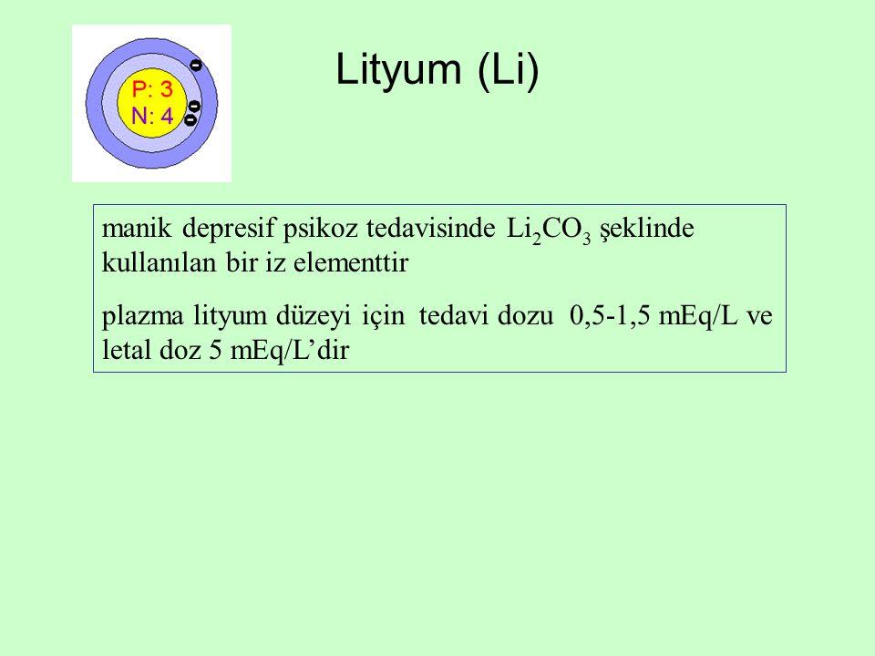Lityum (Li) manik depresif psikoz tedavisinde Li2CO3 şeklinde kullanılan bir iz elementtir.