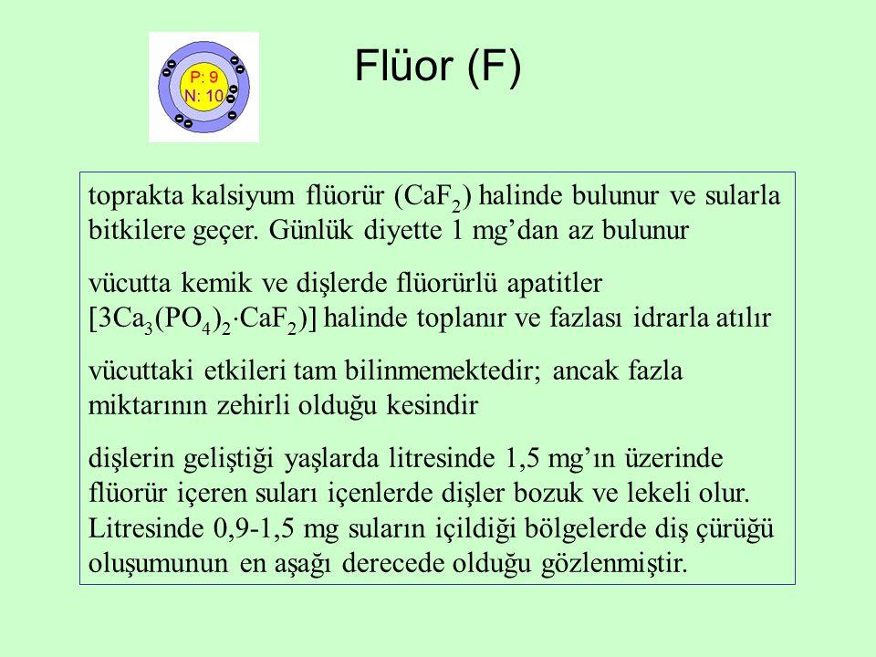 Flüor (F) toprakta kalsiyum flüorür (CaF2) halinde bulunur ve sularla bitkilere geçer. Günlük diyette 1 mg'dan az bulunur.