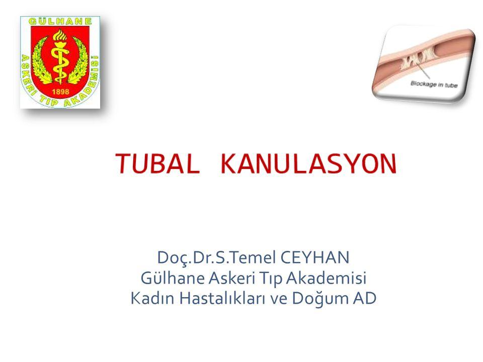 TUBAL KANULASYON Doç.Dr.S.Temel CEYHAN Gülhane Askeri Tıp Akademisi Kadın Hastalıkları ve Doğum AD