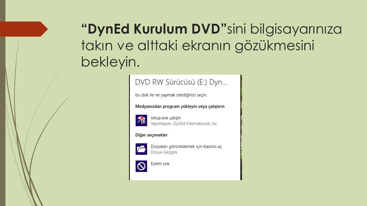 DynEd Kurulum DVD sini bilgisayarınıza takın ve alttaki ekranın gözükmesini bekleyin.