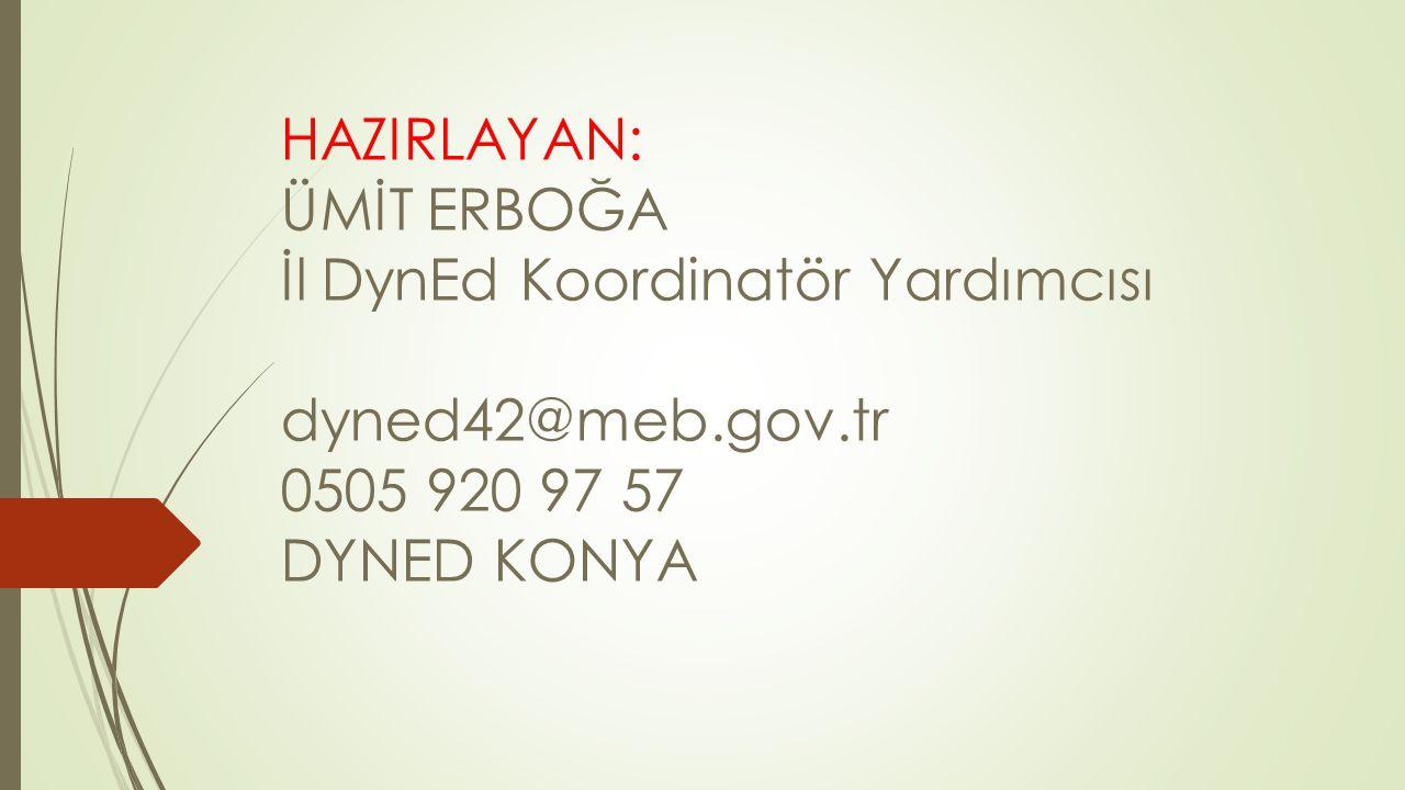 HAZIRLAYAN: ÜMİT ERBOĞA İl DynEd Koordinatör Yardımcısı dyned42@meb