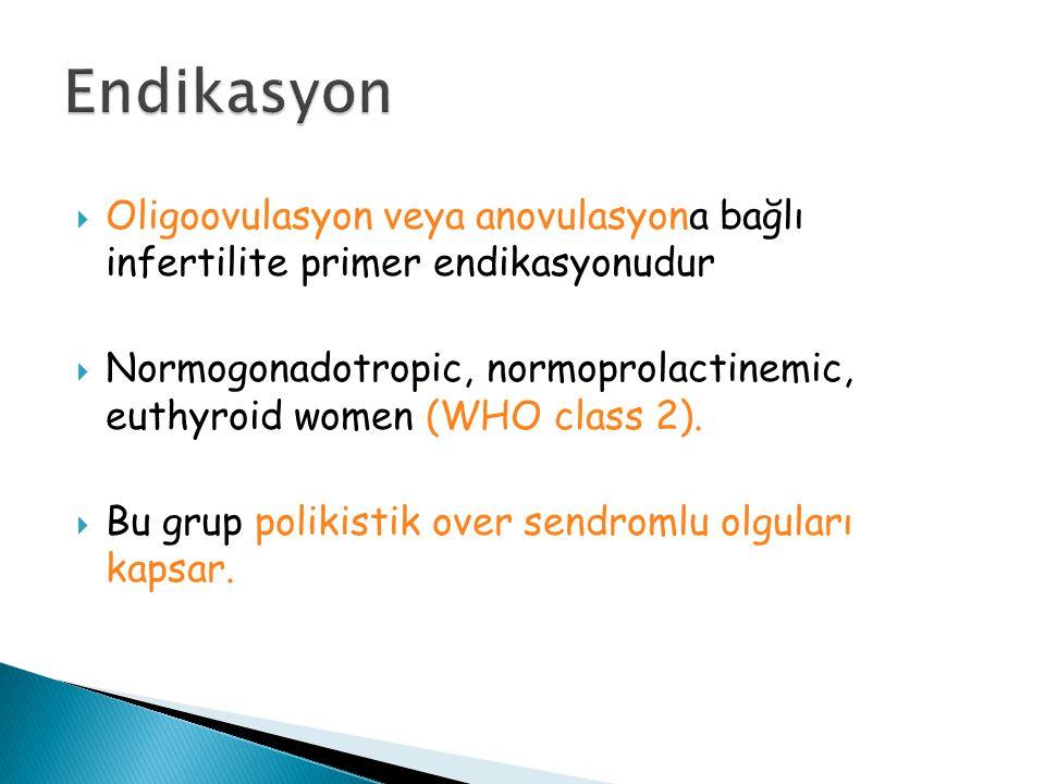 Endikasyon Oligoovulasyon veya anovulasyona bağlı infertilite primer endikasyonudur.