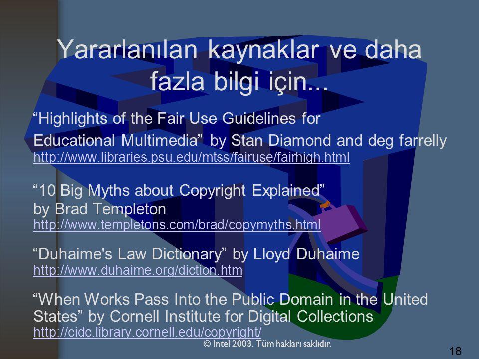 Yararlanılan kaynaklar ve daha fazla bilgi için...