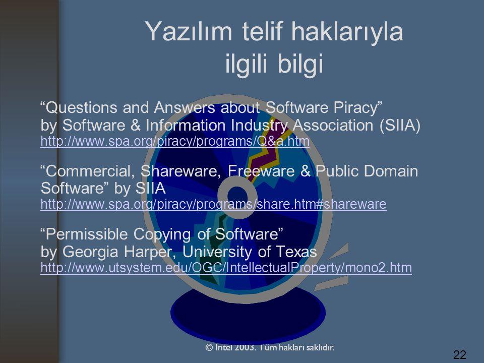 Yazılım telif haklarıyla ilgili bilgi
