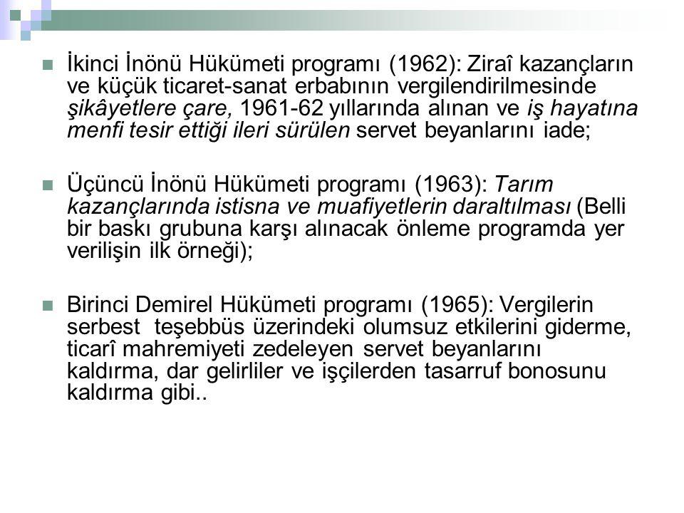 İkinci İnönü Hükümeti programı (1962): Ziraî kazançların ve küçük ticaret-sanat erbabının vergilendirilmesinde şikâyetlere çare, 1961-62 yıllarında alınan ve iş hayatına menfi tesir ettiği ileri sürülen servet beyanlarını iade;