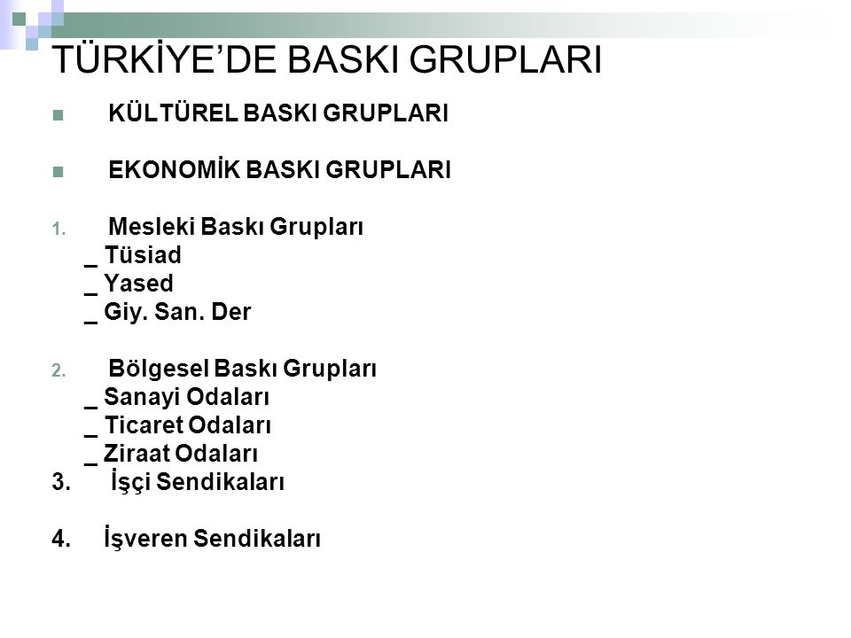 TÜRKİYE'DE BASKI GRUPLARI