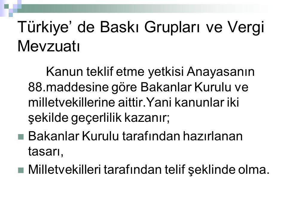 Türkiye' de Baskı Grupları ve Vergi Mevzuatı