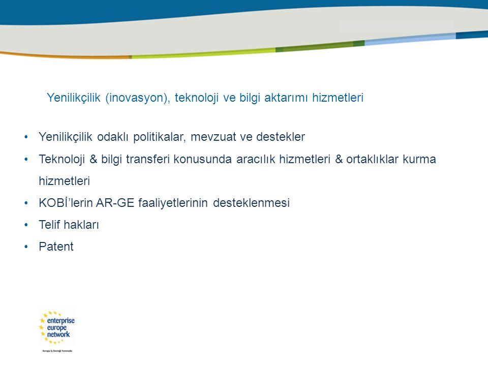 Yenilikçilik (inovasyon), teknoloji ve bilgi aktarımı hizmetleri