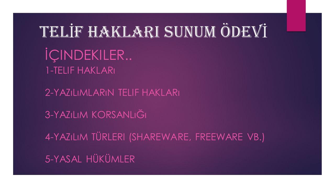 TELİF HAKLARI SUNUM ÖDEVİ