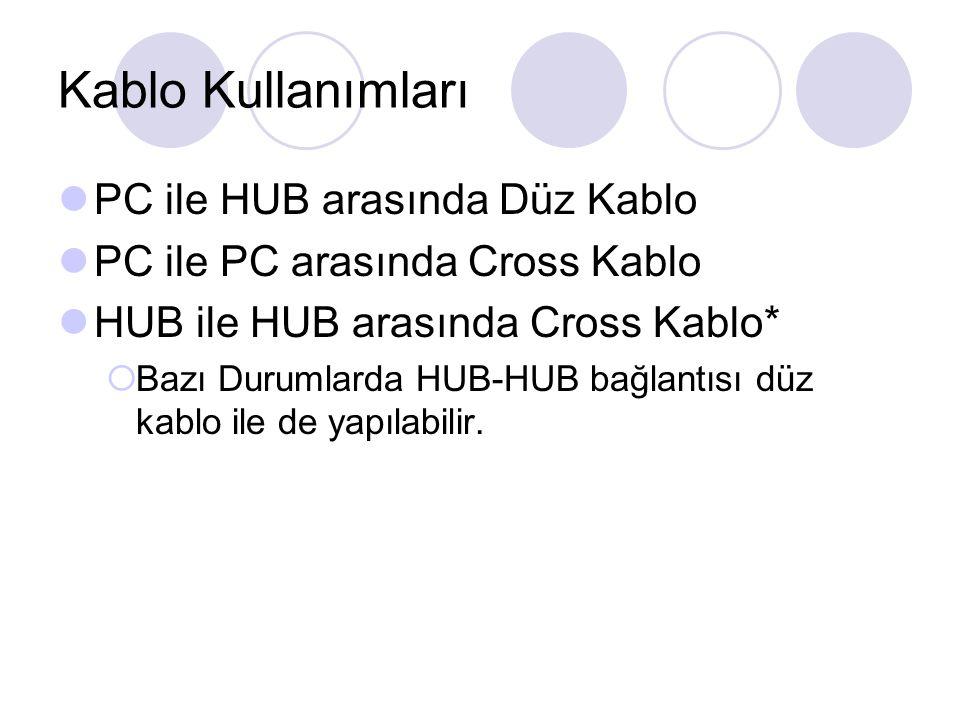 Kablo Kullanımları PC ile HUB arasında Düz Kablo
