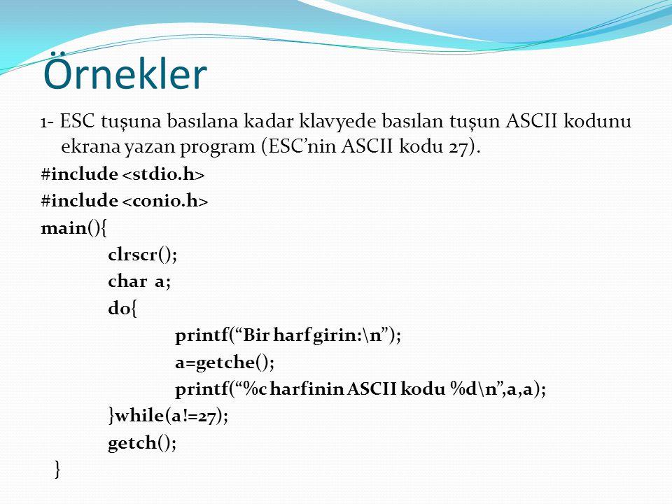 Örnekler 1- ESC tuşuna basılana kadar klavyede basılan tuşun ASCII kodunu ekrana yazan program (ESC'nin ASCII kodu 27).