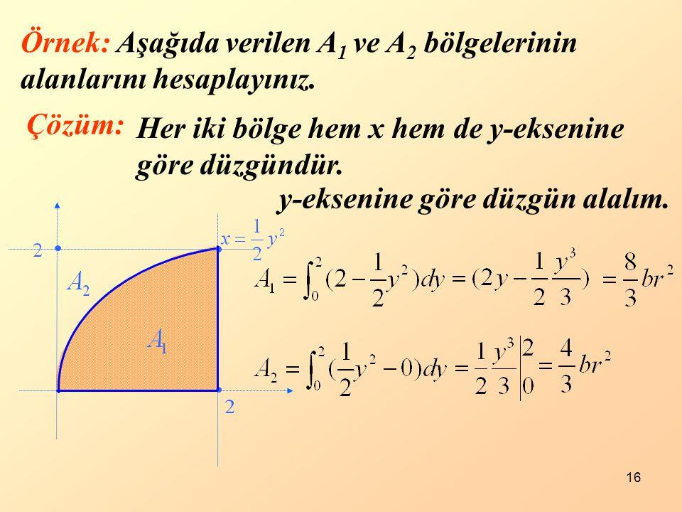 Örnek: Aşağıda verilen A1 ve A2 bölgelerinin alanlarını hesaplayınız.