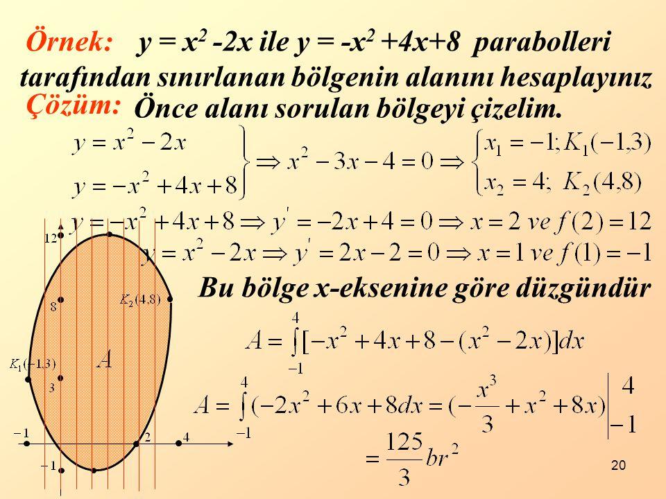 y = x2 -2x ile y = -x2 +4x+8 parabolleri tarafından sınırlanan bölgenin alanını hesaplayınız