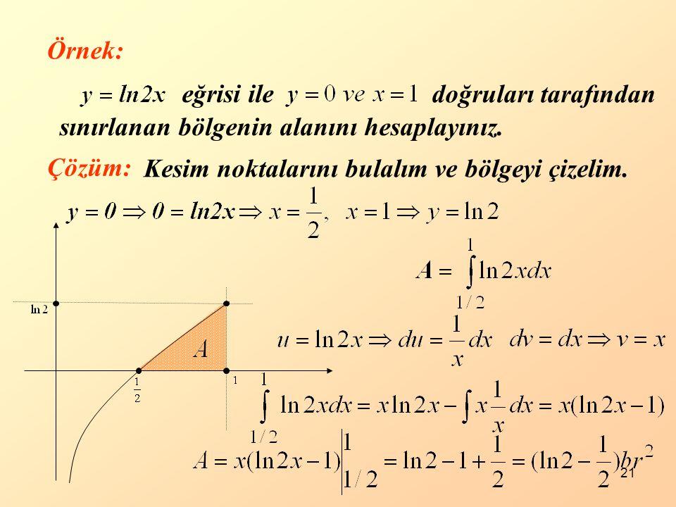 Örnek: eğrisi ile. doğruları tarafından. sınırlanan bölgenin alanını hesaplayınız.