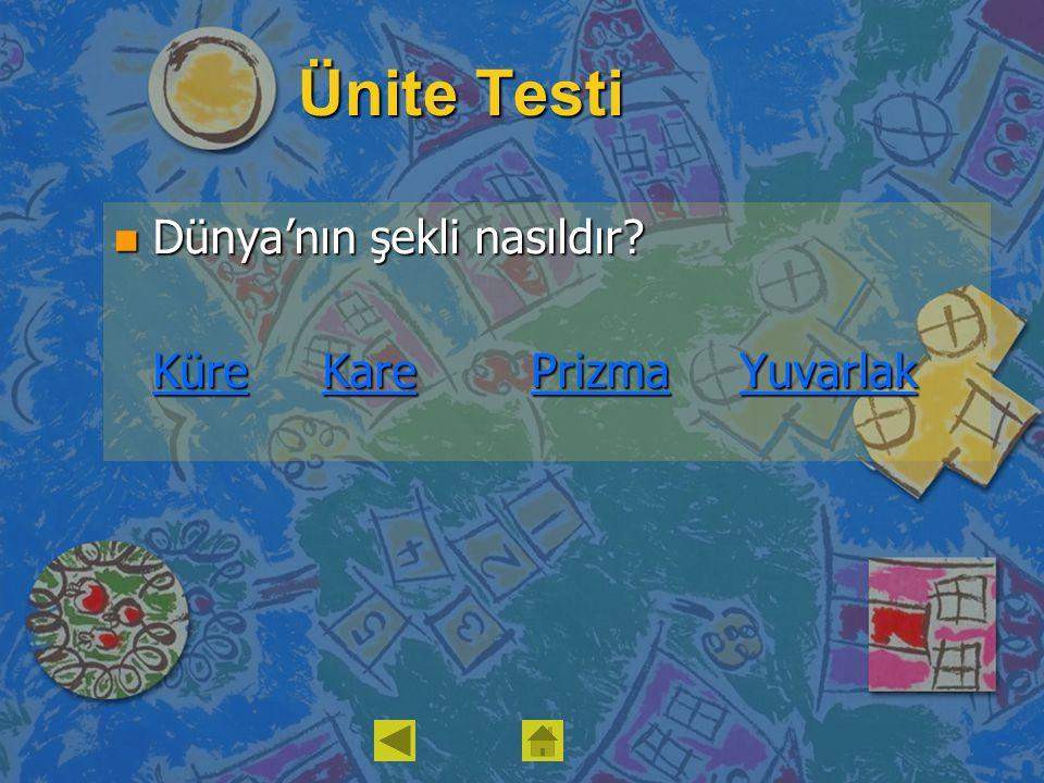 Ünite Testi Dünya'nın şekli nasıldır Küre Kare Prizma Yuvarlak
