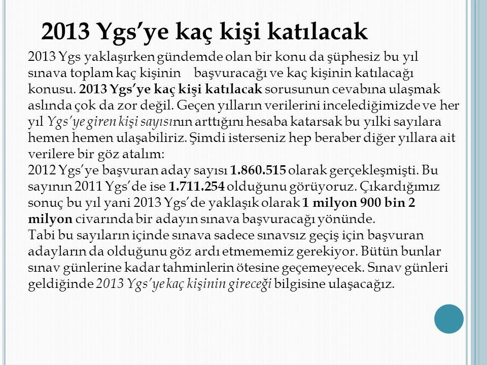 2013 Ygs'ye kaç kişi katılacak