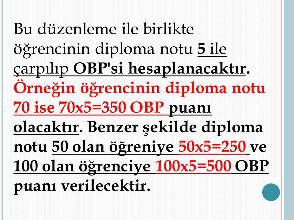 Bu düzenleme ile birlikte öğrencinin diploma notu 5 ile çarpılıp OBP si hesaplanacaktır.