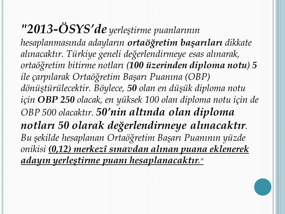2013-ÖSYS'de yerleştirme puanlarının hesaplanmasında adayların ortaöğretim başarıları dikkate alınacaktır.