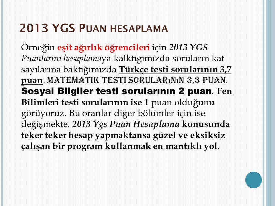 2013 YGS Puan hesaplama