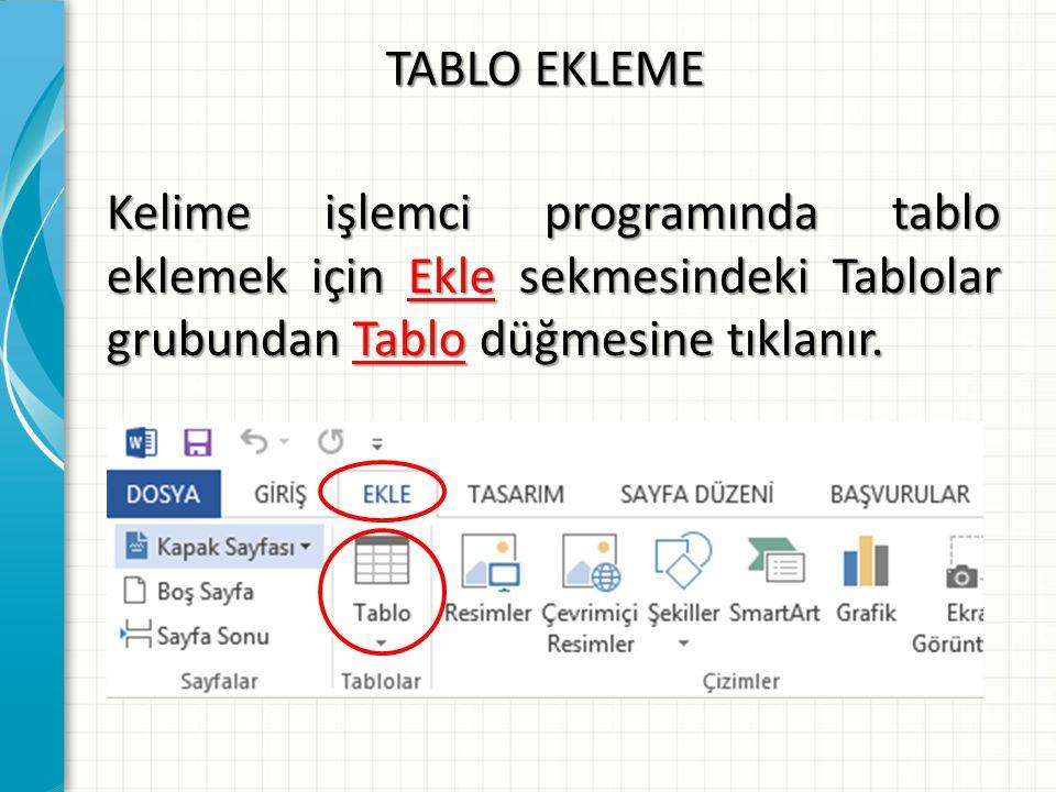 TABLO EKLEME Kelime işlemci programında tablo eklemek için Ekle sekmesindeki Tablolar grubundan Tablo düğmesine tıklanır.