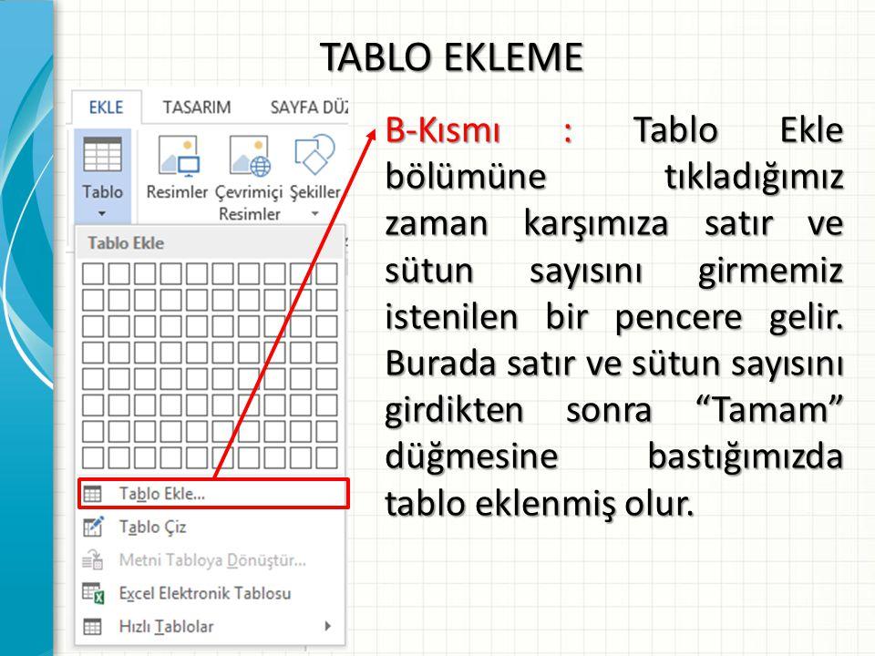 TABLO EKLEME