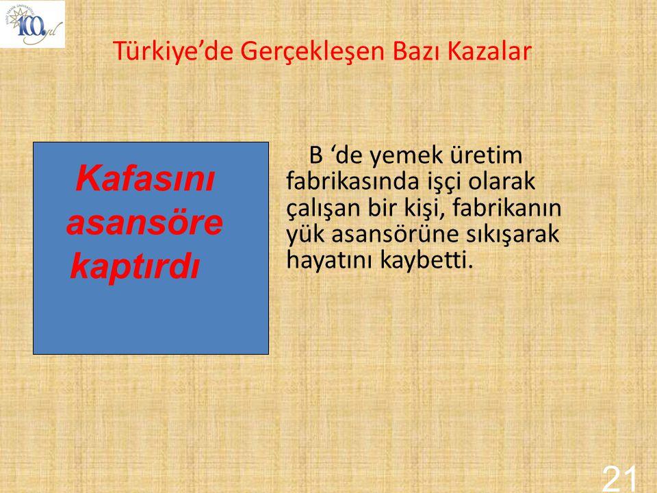 Kafasını asansöre kaptırdı 21 Türkiye'de Gerçekleşen Bazı Kazalar
