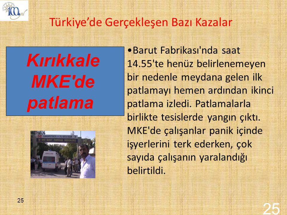 Kırıkkale MKE de patlama 25 Türkiye'de Gerçekleşen Bazı Kazalar