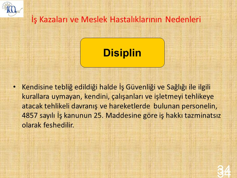 34 34 Disiplin İş Kazaları ve Meslek Hastalıklarının Nedenleri