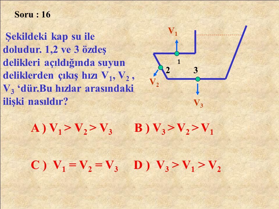 A ) V1 > V2 > V3 B ) V3 > V2 > V1