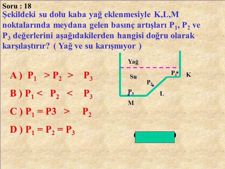 A ) P1 > P2 > P3 B ) P1 < P2 < P3 C ) P1 = P3 > P2