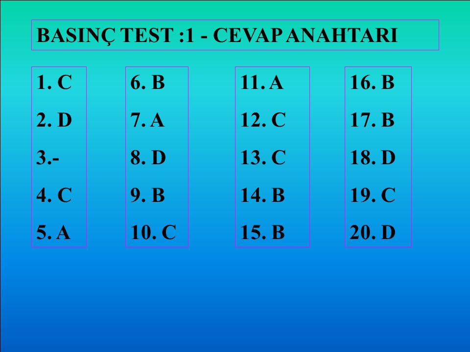 BASINÇ TEST :1 - CEVAP ANAHTARI