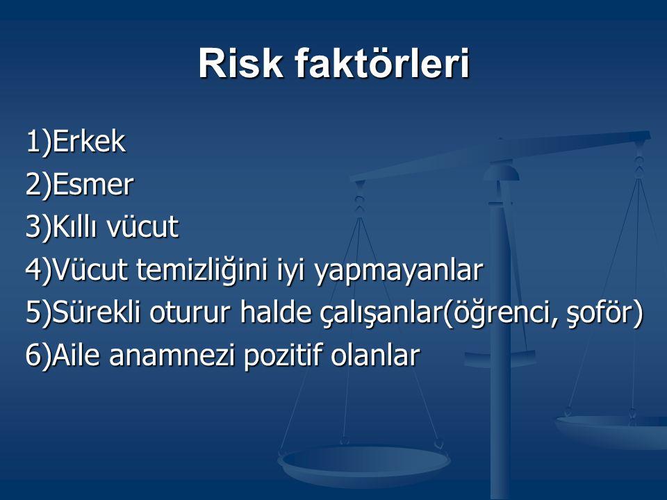 Risk faktörleri 1)Erkek 2)Esmer 3)Kıllı vücut