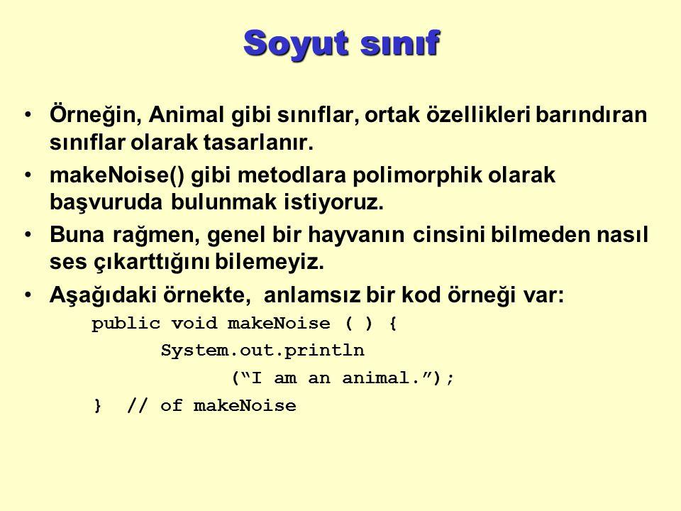 Soyut sınıf Örneğin, Animal gibi sınıflar, ortak özellikleri barındıran sınıflar olarak tasarlanır.