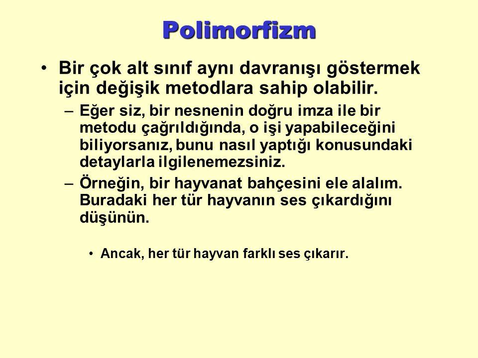 Polimorfizm Bir çok alt sınıf aynı davranışı göstermek için değişik metodlara sahip olabilir.