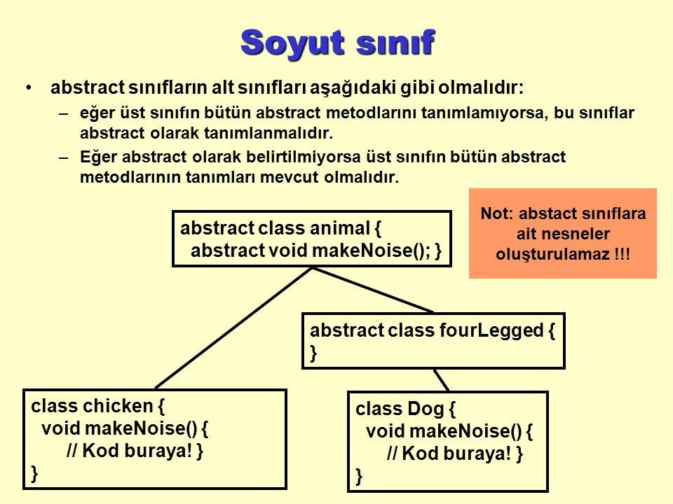 Not: abstact sınıflara ait nesneler oluşturulamaz !!!