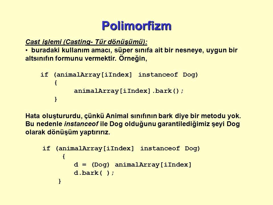 Polimorfizm Cast işlemi (Casting- Tür dönüşümü):