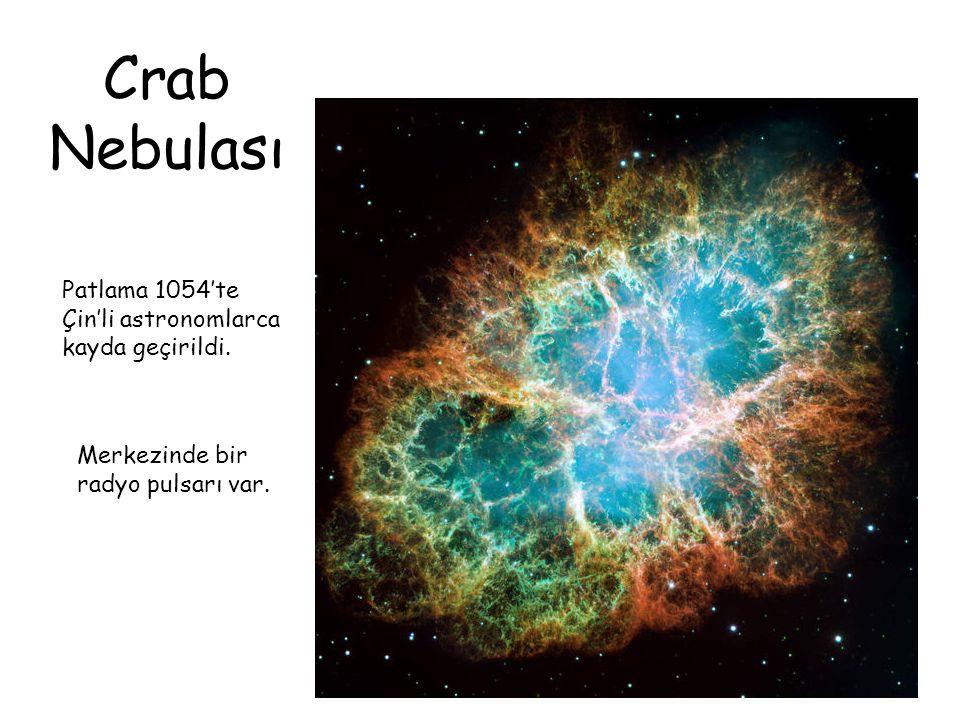 Crab Nebulası Patlama 1054'te Çin'li astronomlarca kayda geçirildi.
