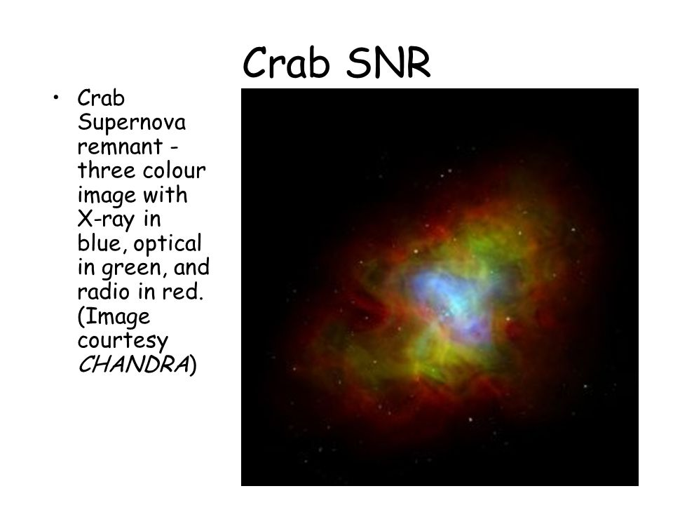 Crab SNR Crab Supernova remnant - three colour image with X-ray in blue, optical in green, and radio in red.