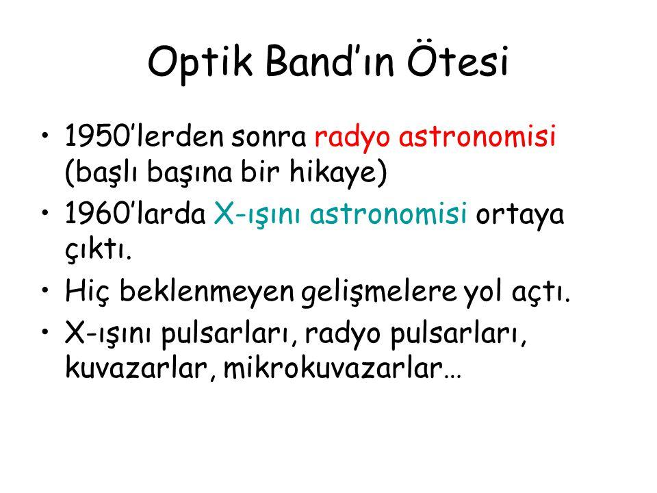 Optik Band'ın Ötesi 1950'lerden sonra radyo astronomisi (başlı başına bir hikaye) 1960'larda X-ışını astronomisi ortaya çıktı.