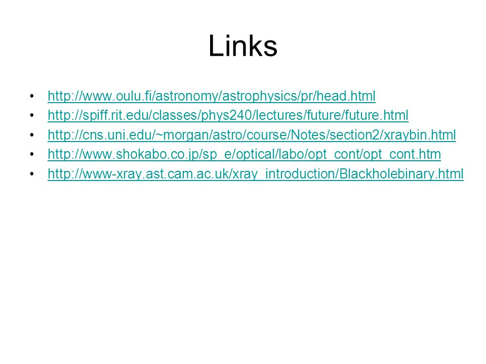 Links http://www.oulu.fi/astronomy/astrophysics/pr/head.html