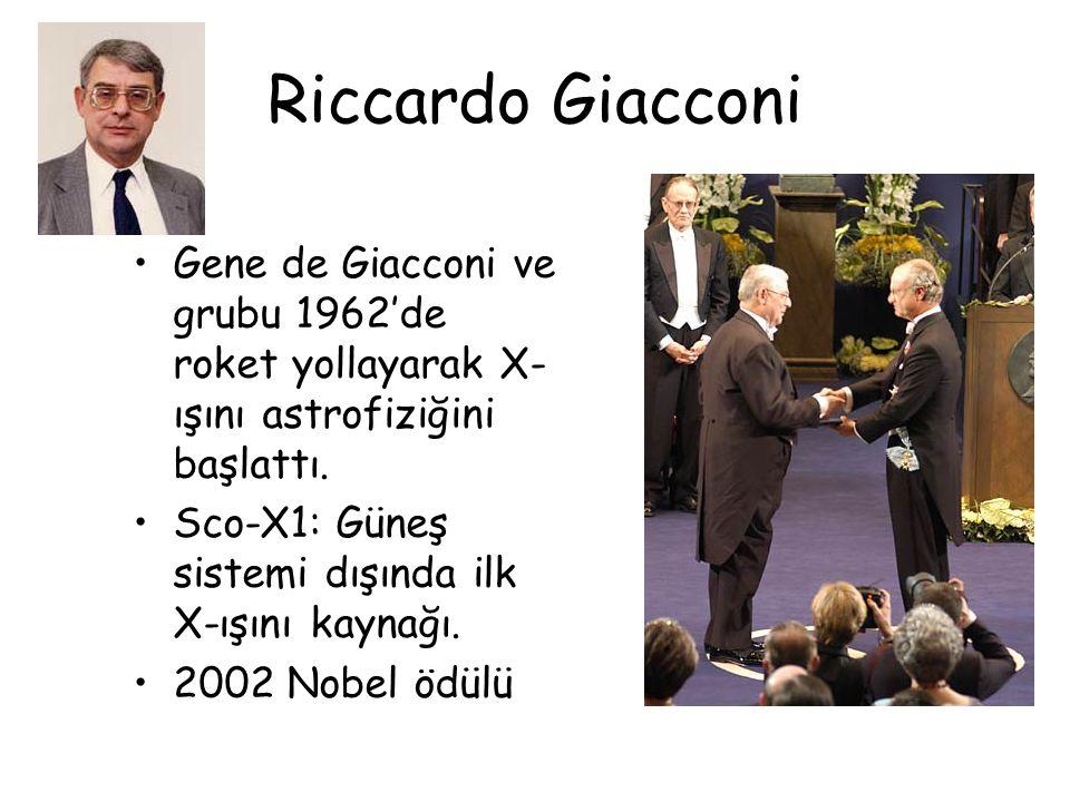 Riccardo Giacconi Gene de Giacconi ve grubu 1962'de roket yollayarak X-ışını astrofiziğini başlattı.