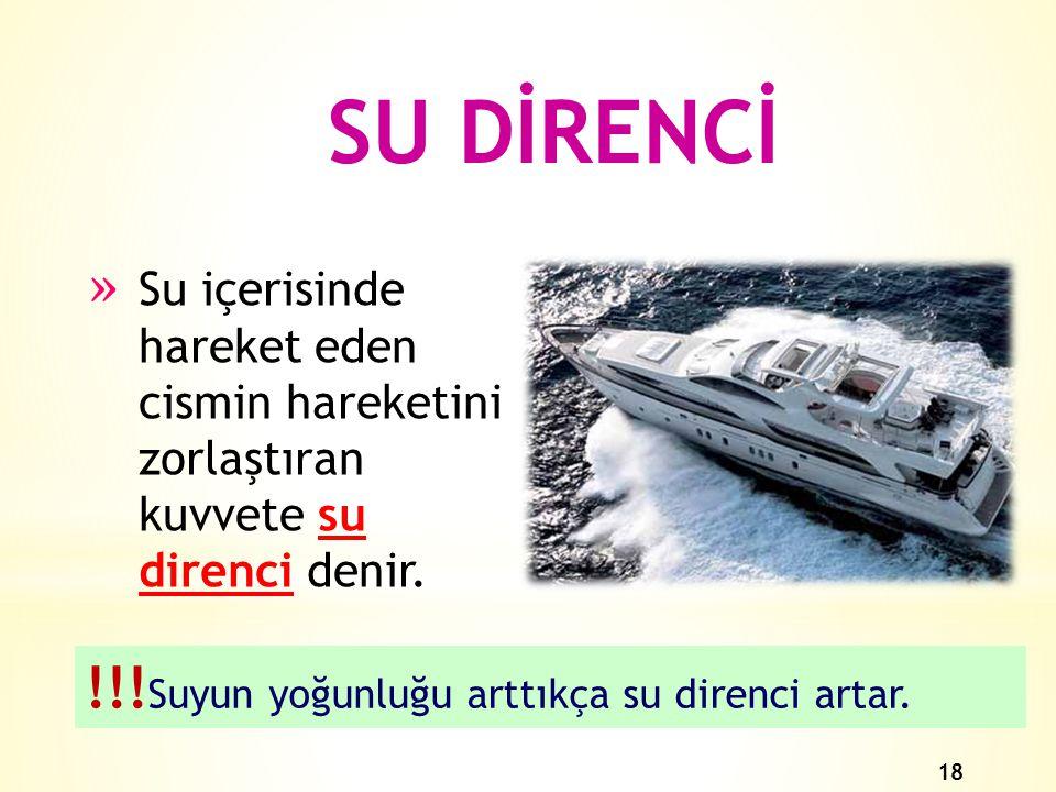 SU DİRENCİ !!!Suyun yoğunluğu arttıkça su direnci artar.