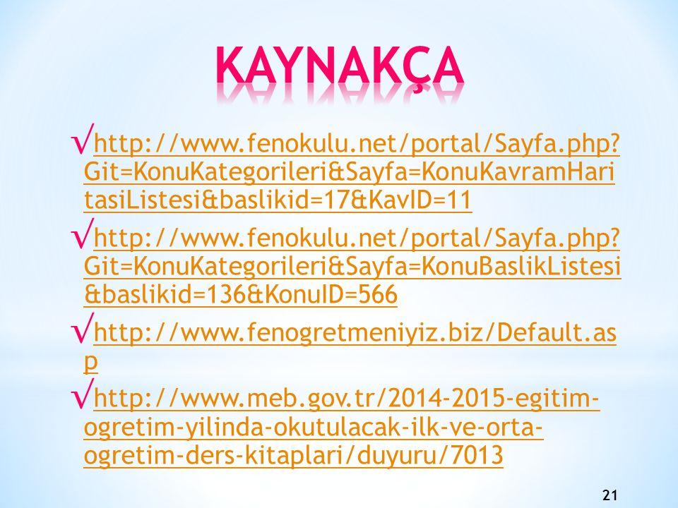 KAYNAKÇA http://www.fenokulu.net/portal/Sayfa.php Git=KonuKategorileri&Sayfa=KonuKavramHari tasiListesi&baslikid=17&KavID=11.