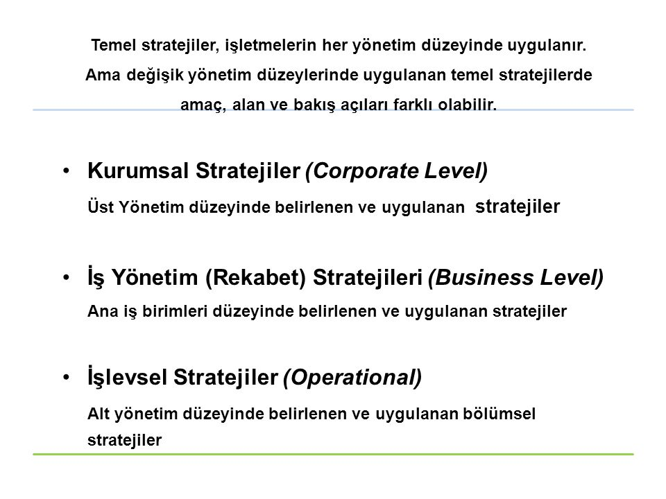 Kurumsal Stratejiler (Corporate Level)